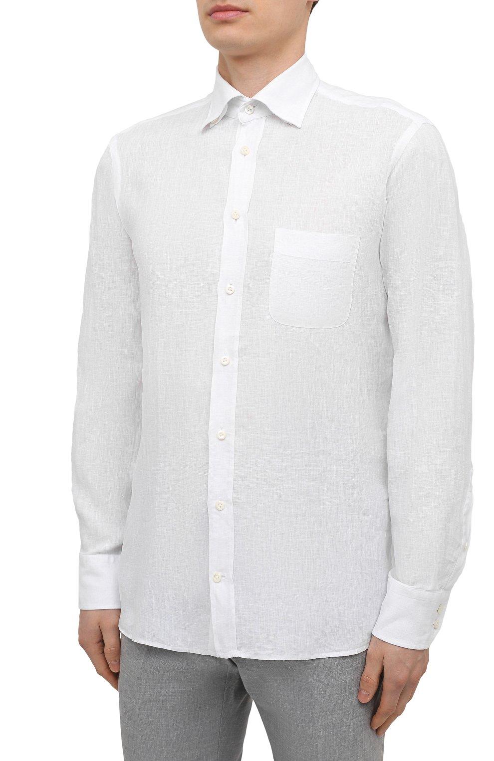 Мужская льняная рубашка VAN LAACK белого цвета, арт. RADIL-TFW/155970   Фото 3 (Манжеты: На пуговицах; Воротник: Button down; Рукава: Длинные; Рубашки М: Regular Fit; Случай: Повседневный; Длина (для топов): Стандартные; Материал внешний: Лен; Принт: Однотонные; Стили: Кэжуэл)