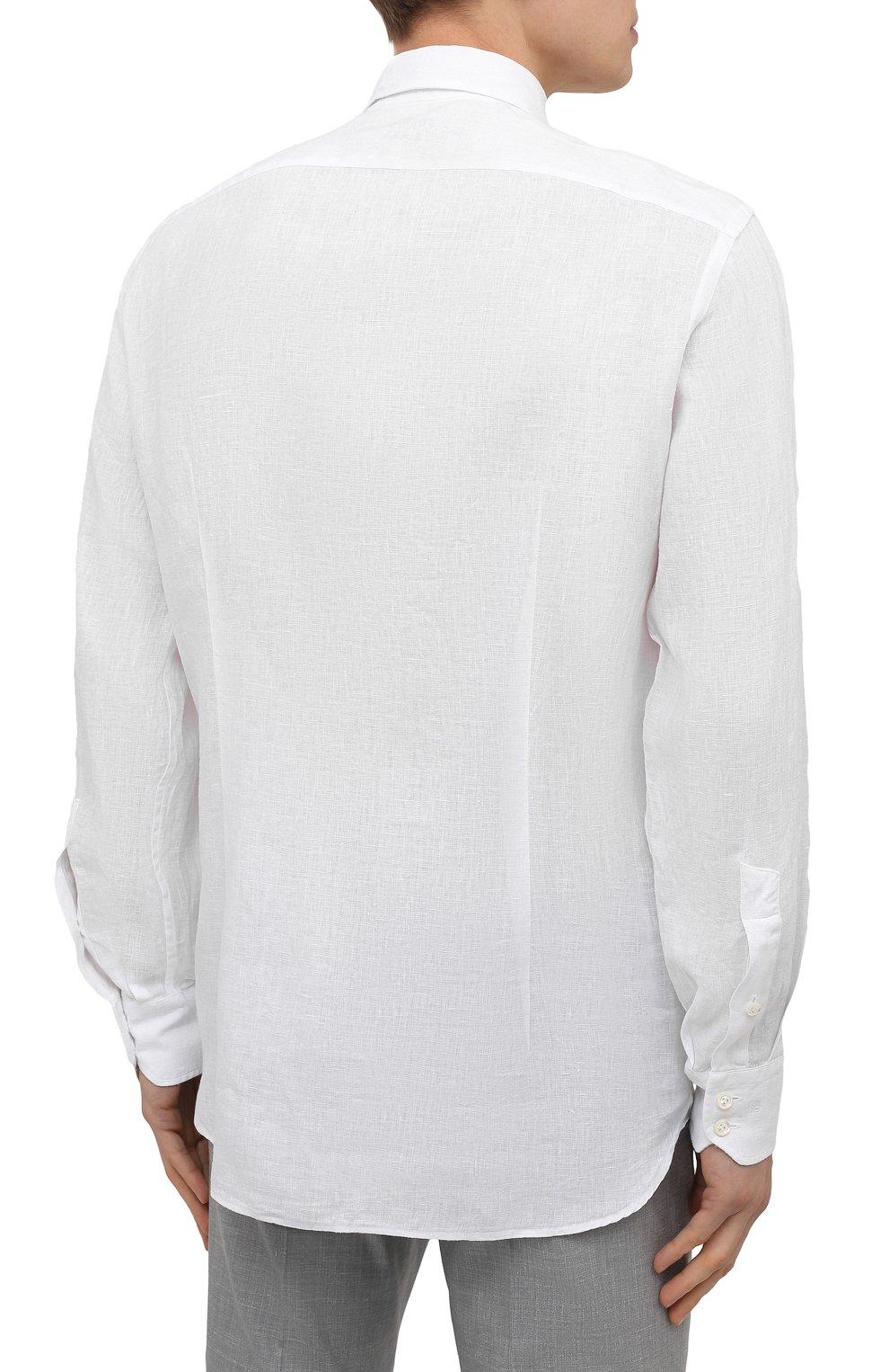 Мужская льняная рубашка VAN LAACK белого цвета, арт. RADIL-TFW/155970   Фото 4 (Манжеты: На пуговицах; Воротник: Button down; Рукава: Длинные; Рубашки М: Regular Fit; Случай: Повседневный; Длина (для топов): Стандартные; Материал внешний: Лен; Принт: Однотонные; Стили: Кэжуэл)