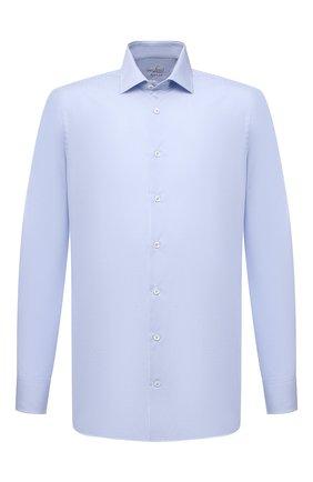 Мужская хлопковая сорочка VAN LAACK голубого цвета, арт. RAT0-SFN/161480 | Фото 1 (Материал внешний: Хлопок; Длина (для топов): Стандартные; Рукава: Длинные; Случай: Формальный; Рубашки М: Slim Fit; Манжеты: На пуговицах; Принт: Клетка; Воротник: Акула; Стили: Классический)