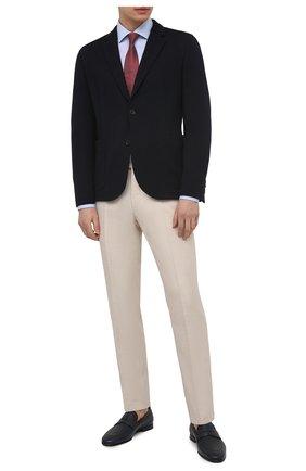 Мужская хлопковая сорочка VAN LAACK голубого цвета, арт. RAT0-SFN/161480 | Фото 2 (Материал внешний: Хлопок; Длина (для топов): Стандартные; Рукава: Длинные; Случай: Формальный; Рубашки М: Slim Fit; Манжеты: На пуговицах; Принт: Клетка; Воротник: Акула; Стили: Классический)