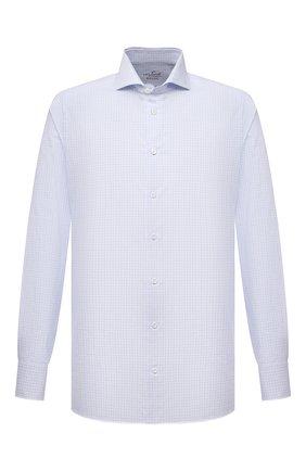 Мужская хлопковая сорочка VAN LAACK голубого цвета, арт. RES0-SF/161498 | Фото 1 (Рукава: Длинные; Длина (для топов): Стандартные; Материал внешний: Хлопок; Случай: Формальный; Рубашки М: Slim Fit; Манжеты: На пуговицах; Принт: Клетка; Воротник: Акула; Стили: Классический)