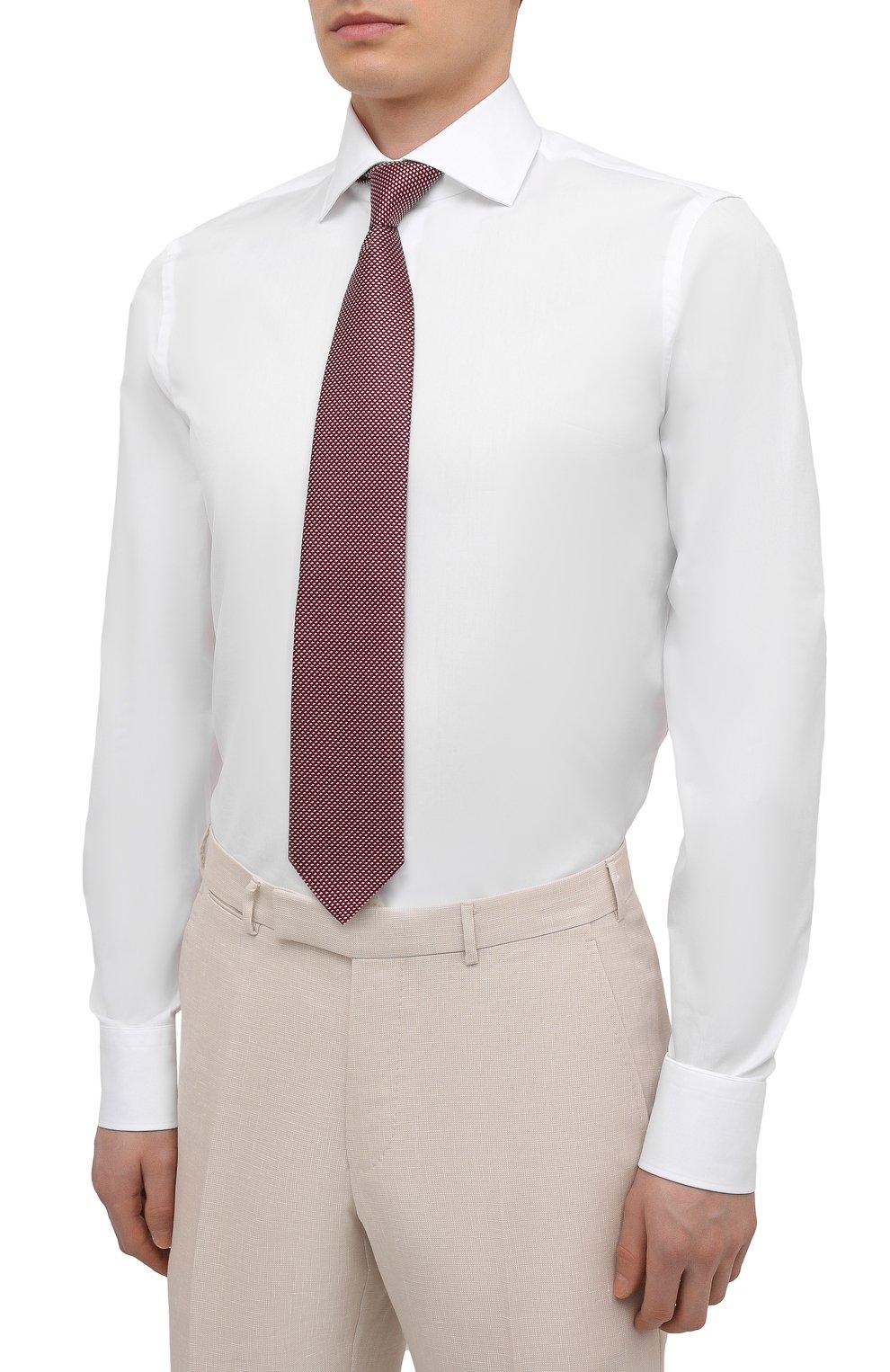 Мужская хлопковая сорочка VAN LAACK белого цвета, арт. RIVARA-LSF/130648   Фото 4 (Манжеты: На пуговицах; Рукава: Длинные; Воротник: Акула; Длина (для топов): Стандартные; Рубашки М: Slim Fit; Материал внешний: Хлопок; Стили: Классический; Случай: Формальный; Принт: Однотонные)