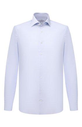 Мужская хлопковая сорочка VAN LAACK голубого цвета, арт. RIVARA-LSF/162175 | Фото 1 (Материал внешний: Хлопок; Рукава: Длинные; Длина (для топов): Стандартные; Случай: Формальный; Рубашки М: Slim Fit; Манжеты: На пуговицах; Принт: Клетка; Воротник: Акула; Стили: Классический)