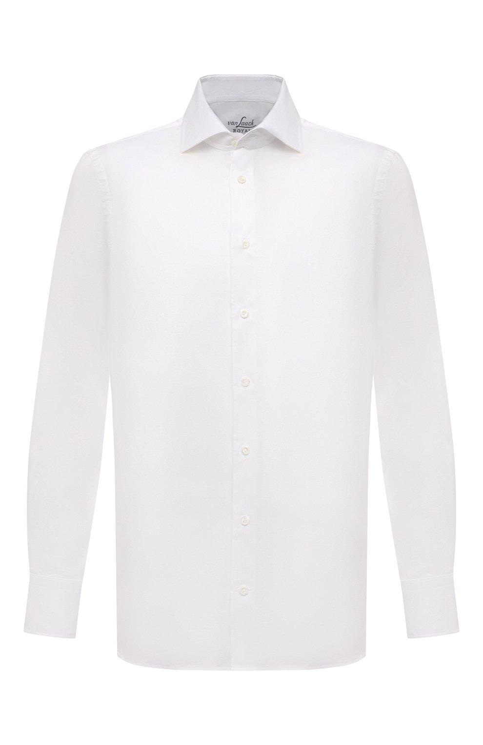 Мужская хлопковая сорочка VAN LAACK белого цвета, арт. RIVARA-SF02/150189   Фото 1 (Манжеты: На пуговицах; Рукава: Длинные; Воротник: Акула; Длина (для топов): Стандартные; Рубашки М: Slim Fit; Материал внешний: Хлопок; Стили: Классический; Случай: Формальный; Принт: Однотонные)
