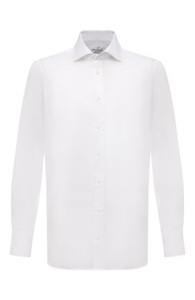 Мужская хлопковая сорочка VAN LAACK белого цвета, арт. RIVARA-SF02/150189 | Фото 1 (Длина (для топов): Стандартные; Материал внешний: Хлопок; Рукава: Длинные; Случай: Формальный; Рубашки М: Slim Fit; Манжеты: На пуговицах; Принт: Однотонные; Воротник: Акула; Стили: Классический)