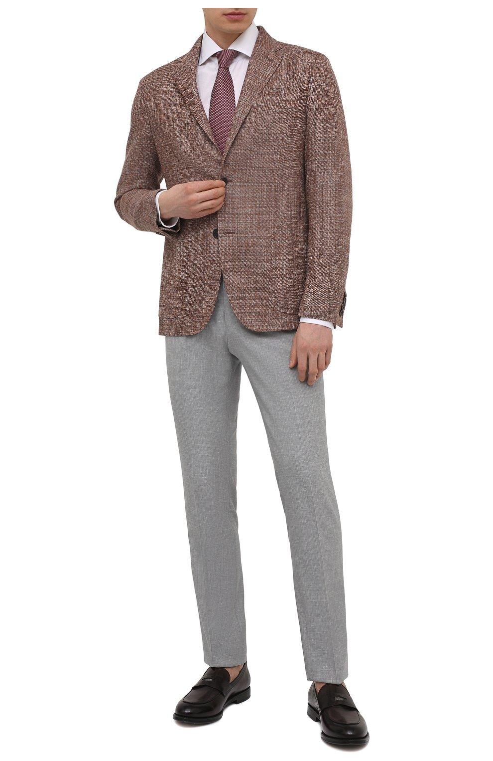 Мужская хлопковая сорочка VAN LAACK белого цвета, арт. RIVARA-SF02/150189   Фото 2 (Манжеты: На пуговицах; Рукава: Длинные; Воротник: Акула; Длина (для топов): Стандартные; Рубашки М: Slim Fit; Материал внешний: Хлопок; Стили: Классический; Случай: Формальный; Принт: Однотонные)