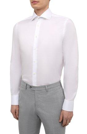 Мужская хлопковая сорочка VAN LAACK белого цвета, арт. RIVARA-SF02/150189   Фото 3 (Манжеты: На пуговицах; Рукава: Длинные; Воротник: Акула; Длина (для топов): Стандартные; Рубашки М: Slim Fit; Материал внешний: Хлопок; Стили: Классический; Случай: Формальный; Принт: Однотонные)