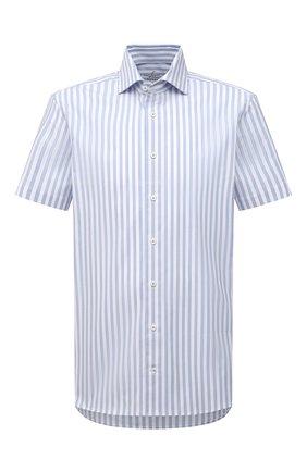 Мужская хлопковая рубашка VAN LAACK синего цвета, арт. RIVARA-S-TF/156520 | Фото 1 (Материал внешний: Хлопок; Рукава: Короткие; Длина (для топов): Стандартные; Случай: Повседневный; Рубашки М: Regular Fit; Принт: Полоска; Воротник: Акула; Стили: Кэжуэл)