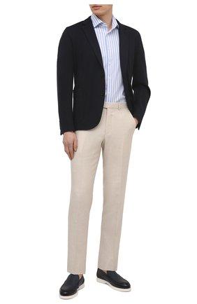 Мужская хлопковая рубашка VAN LAACK синего цвета, арт. RIVARA-S-TF/156520 | Фото 2 (Материал внешний: Хлопок; Рукава: Короткие; Длина (для топов): Стандартные; Случай: Повседневный; Рубашки М: Regular Fit; Принт: Полоска; Воротник: Акула; Стили: Кэжуэл)