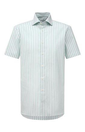 Мужская хлопковая рубашка VAN LAACK светло-зеленого цвета, арт. RIVARA-S-TF/156520 | Фото 1 (Длина (для топов): Стандартные; Материал внешний: Хлопок; Рукава: Короткие; Случай: Повседневный; Рубашки М: Regular Fit; Принт: Полоска; Воротник: Акула; Стили: Кэжуэл)