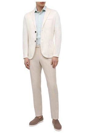 Мужская хлопковая рубашка VAN LAACK светло-зеленого цвета, арт. RIVARA-S-TF/156520 | Фото 2 (Длина (для топов): Стандартные; Материал внешний: Хлопок; Рукава: Короткие; Случай: Повседневный; Рубашки М: Regular Fit; Принт: Полоска; Воротник: Акула; Стили: Кэжуэл)