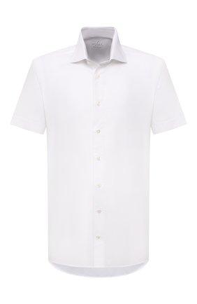 Мужская сорочка из хлопка и льна VAN LAACK белого цвета, арт. RIVARA-S-TF/160006 | Фото 1 (Рукава: Короткие; Материал внешний: Хлопок, Лен; Длина (для топов): Стандартные; Случай: Формальный; Рубашки М: Regular Fit; Принт: Однотонные; Воротник: Акула; Стили: Классический)