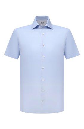Мужская хлопковая сорочка VAN LAACK голубого цвета, арт. RIVARA-S-TF02/150189 | Фото 1 (Рукава: Короткие; Длина (для топов): Стандартные; Материал внешний: Хлопок; Случай: Формальный; Рубашки М: Regular Fit; Принт: Однотонные; Воротник: Акула; Стили: Классический)