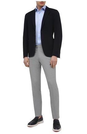 Мужская хлопковая сорочка VAN LAACK голубого цвета, арт. RIVARA-S-TF02/150189 | Фото 2 (Рукава: Короткие; Длина (для топов): Стандартные; Материал внешний: Хлопок; Случай: Формальный; Рубашки М: Regular Fit; Принт: Однотонные; Воротник: Акула; Стили: Классический)