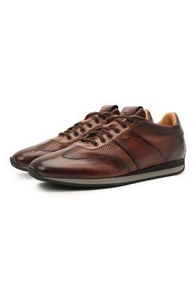 Мужские кожаные кроссовки SANTONI темно-коричневого цвета, арт. MBLC21448NGNMAPLS50   Фото 1