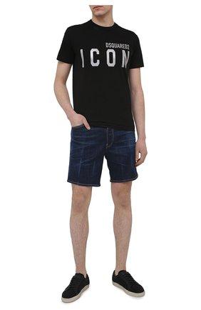 Мужская хлопковая футболка DSQUARED2 черного цвета, арт. S79GC0019/S23009 | Фото 2 (Длина (для топов): Стандартные; Материал внешний: Хлопок; Рукава: Короткие; Стили: Гранж; Принт: С принтом)