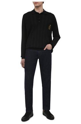 Мужское поло из шелка и хлопка DOLCE & GABBANA черного цвета, арт. GXE13Z/JBMJ6 | Фото 2