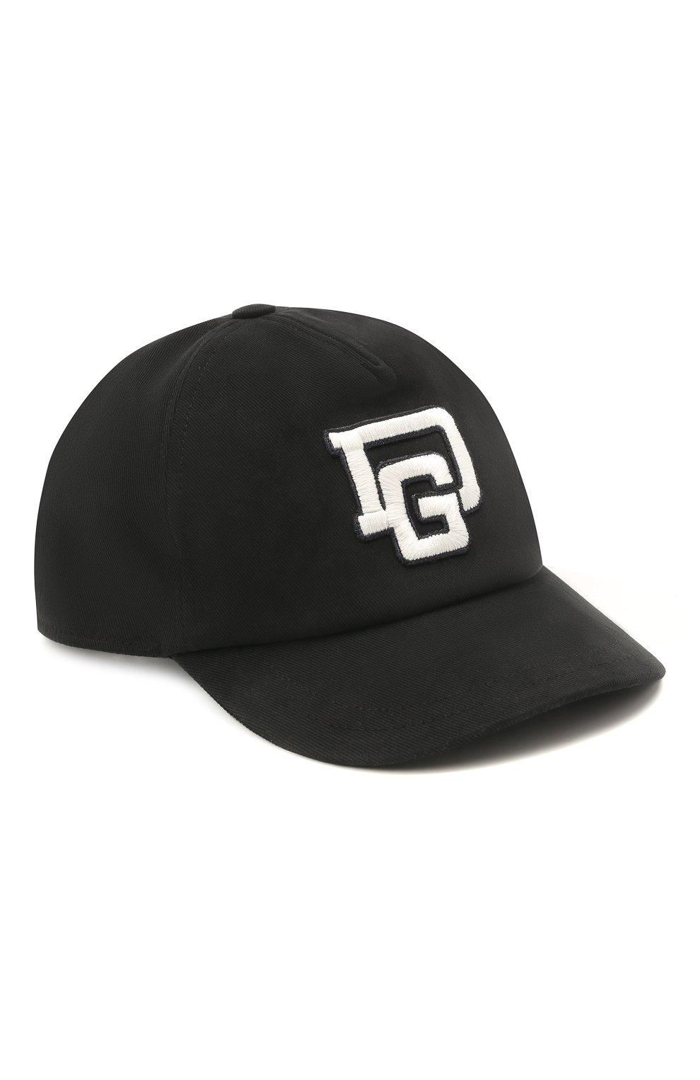 Детская хлопковая бейсболка DOLCE & GABBANA черного цвета, арт. LB4H85/G7XSD   Фото 1