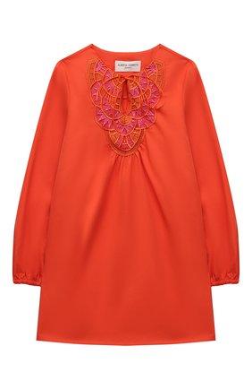 Детское хлопковое платье ALBERTA FERRETTI JUNIOR оранжевого цвета, арт. 027819   Фото 1