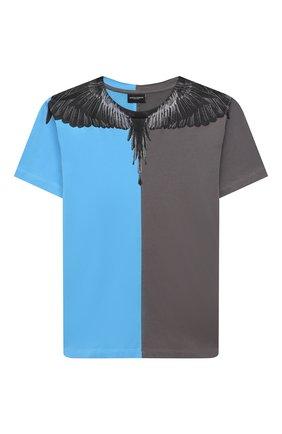 Детская хлопковая футболка MARCELO BURLON KIDS OF MILAN голубого цвета, арт. 21E/B/MB/1108/0010/8-14Y   Фото 1