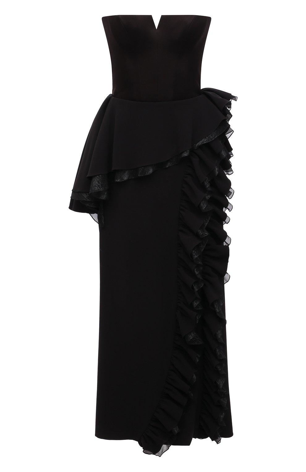 Женское платье ULYANA SERGEENKO черного цвета, арт. ABM003FW21NY(2074т20) | Фото 1 (Случай: Вечерний; Рукава: Короткие; Женское Кросс-КТ: платье-футляр, Платье-одежда; Материал внешний: Синтетический материал; Длина Ж (юбки, платья, шорты): Миди; Стили: Романтичный; Материал подклада: Шелк)