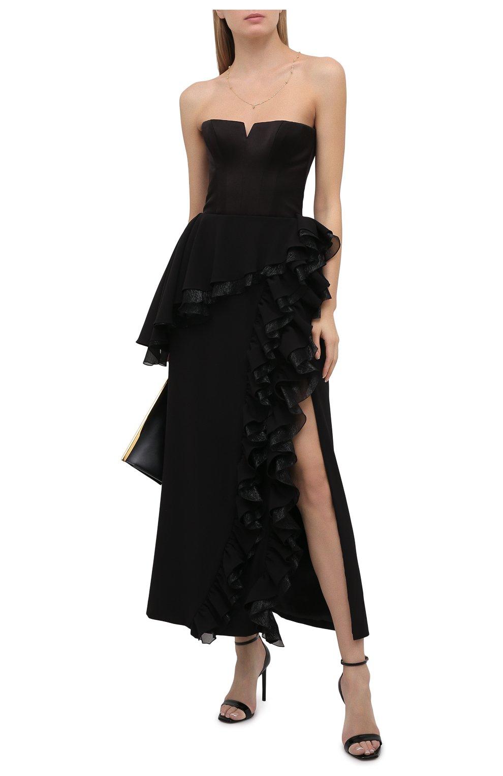 Женское платье ULYANA SERGEENKO черного цвета, арт. ABM003FW21NY(2074т20) | Фото 2 (Случай: Вечерний; Рукава: Короткие; Женское Кросс-КТ: платье-футляр, Платье-одежда; Материал внешний: Синтетический материал; Длина Ж (юбки, платья, шорты): Миди; Стили: Романтичный; Материал подклада: Шелк)