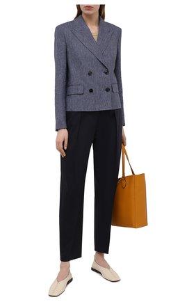 Женские хлопковые брюки BOSS темно-синего цвета, арт. 50448216 | Фото 2