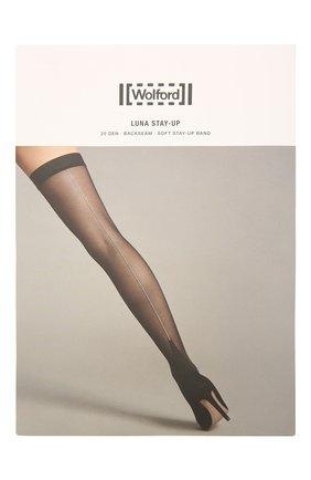 Женские чулки luna stay-up WOLFORD черного цвета, арт. 28140 | Фото 1