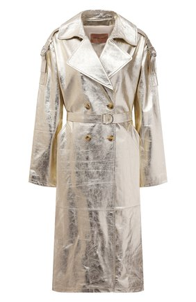 Женский кожаный плащ YVES SALOMON золотого цвета, арт. 21WYM20819APXX | Фото 1