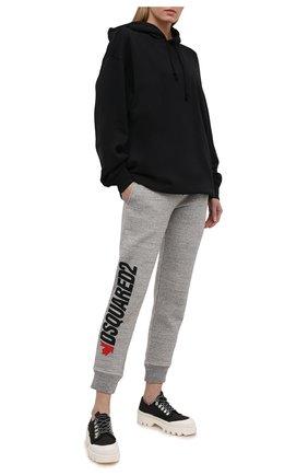 Женские хлопковые джоггеры DSQUARED2 серого цвета, арт. S75KB0201/S25148 | Фото 2