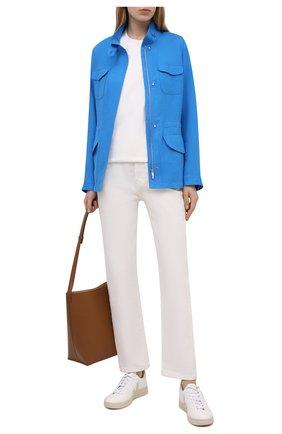 Женская льняная куртка LORO PIANA синего цвета, арт. FAF6362 | Фото 2