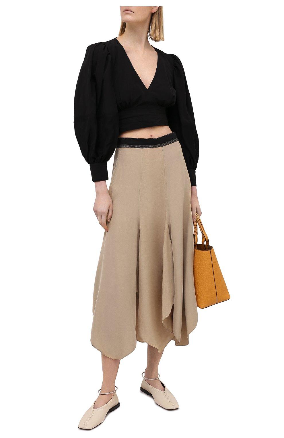 Женская юбка из вискозы и льна LOEWE бежевого цвета, арт. S540Y08X24 | Фото 2