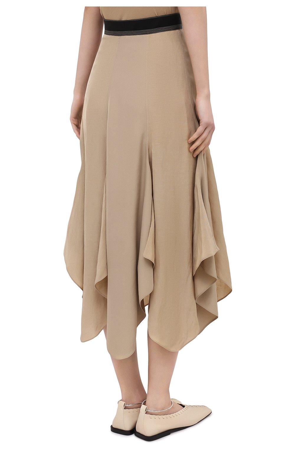 Женская юбка из вискозы и льна LOEWE бежевого цвета, арт. S540Y08X24 | Фото 4