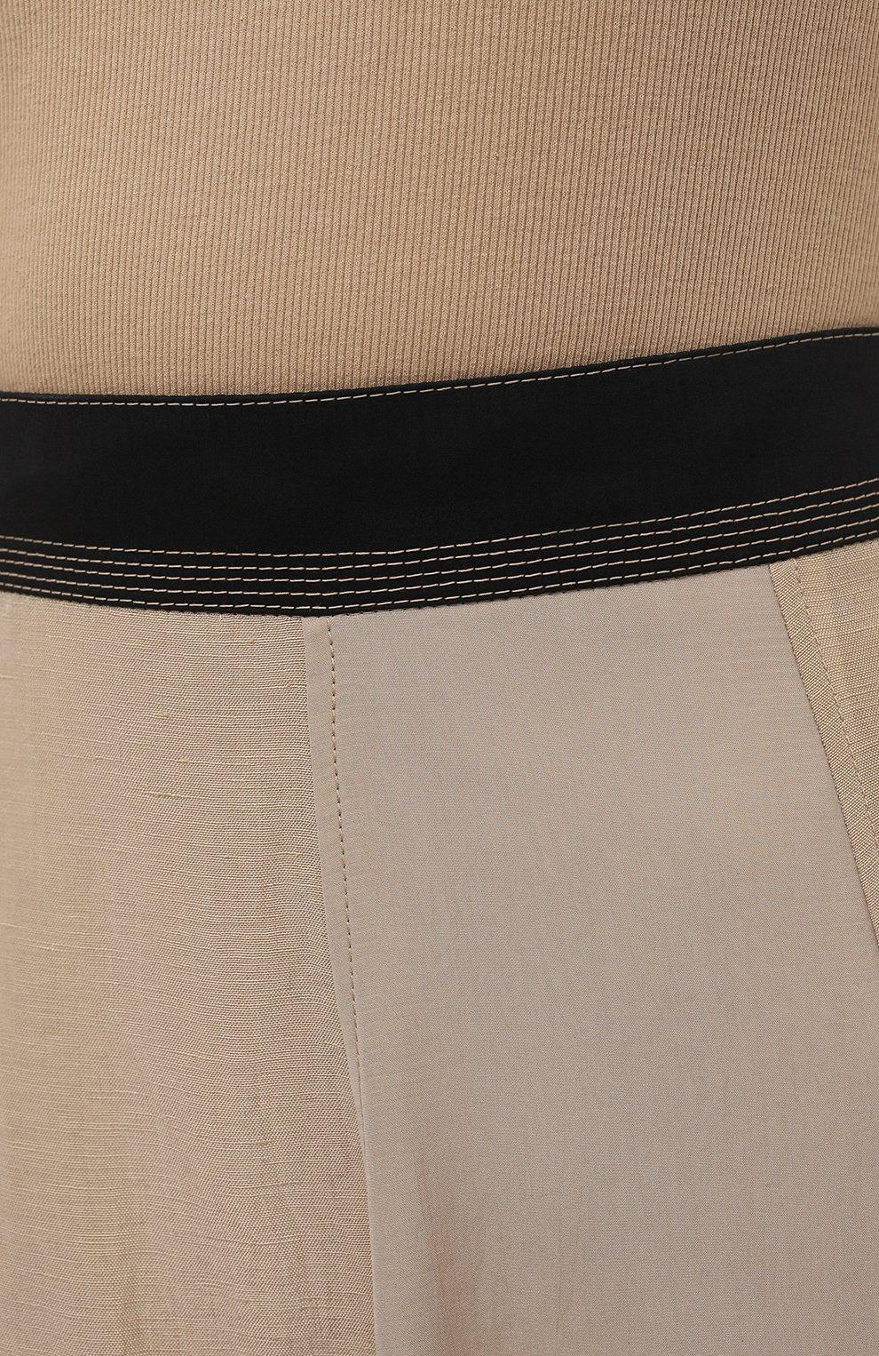 Женская юбка из вискозы и льна LOEWE бежевого цвета, арт. S540Y08X24 | Фото 5