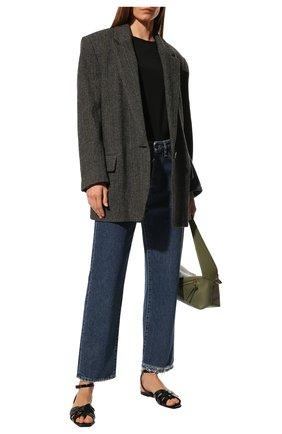 Женские кожаные сандалии tribute SAINT LAURENT темно-зеленого цвета, арт. 620090/1YQ00 | Фото 2