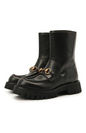 Женские кожаные ботинки GUCCI черного цвета, арт. 643900/DS800 | Фото 1