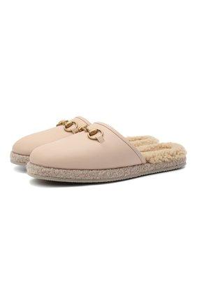 Женского домашние туфли GUCCI бежевого цвета, арт. 645757/17T40 | Фото 1