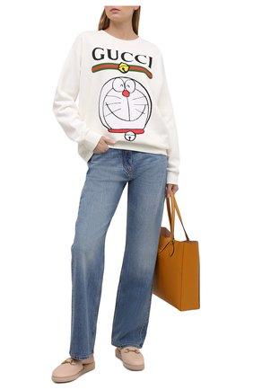 Женского домашние туфли GUCCI бежевого цвета, арт. 645757/17T40 | Фото 2