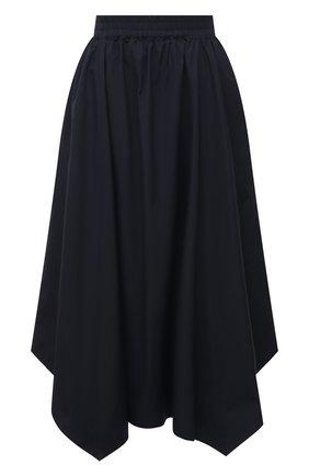 Женская хлопковая юбка LORENA ANTONIAZZI темно-синего цвета, арт. P2133G0024/3434 | Фото 1 (Материал внешний: Хлопок; Длина Ж (юбки, платья, шорты): Миди; Женское Кросс-КТ: Юбка-одежда; Стили: Романтичный)