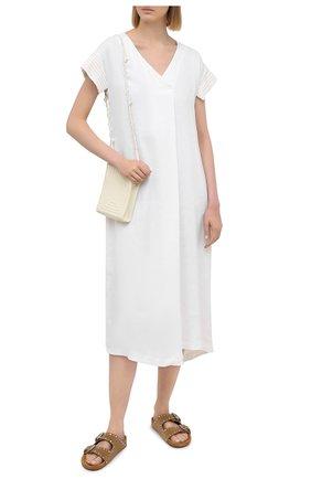 Женское платье из льна и вискозы LORENA ANTONIAZZI белого цвета, арт. P2125AB004/3347   Фото 2
