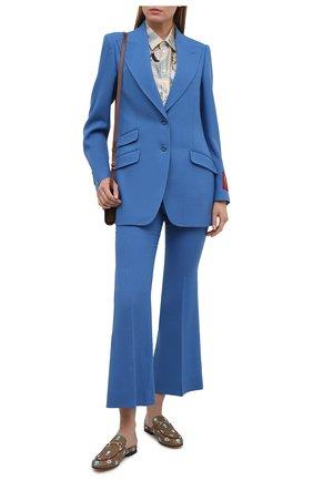 Женский шерстяной жакет GUCCI синего цвета, арт. 652595/ZAF6I | Фото 2