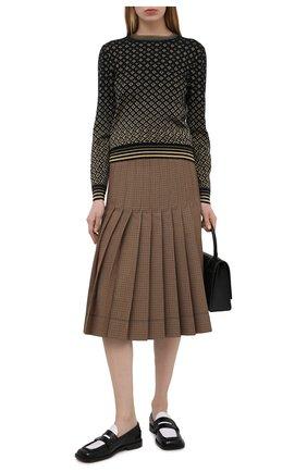Женский шерстяной пуловер GUCCI черного цвета, арт. 650376/XKB0G | Фото 2 (Материал внешний: Шерсть; Рукава: Длинные; Длина (для топов): Стандартные; Женское Кросс-КТ: Пуловер-одежда; Стили: Кэжуэл)