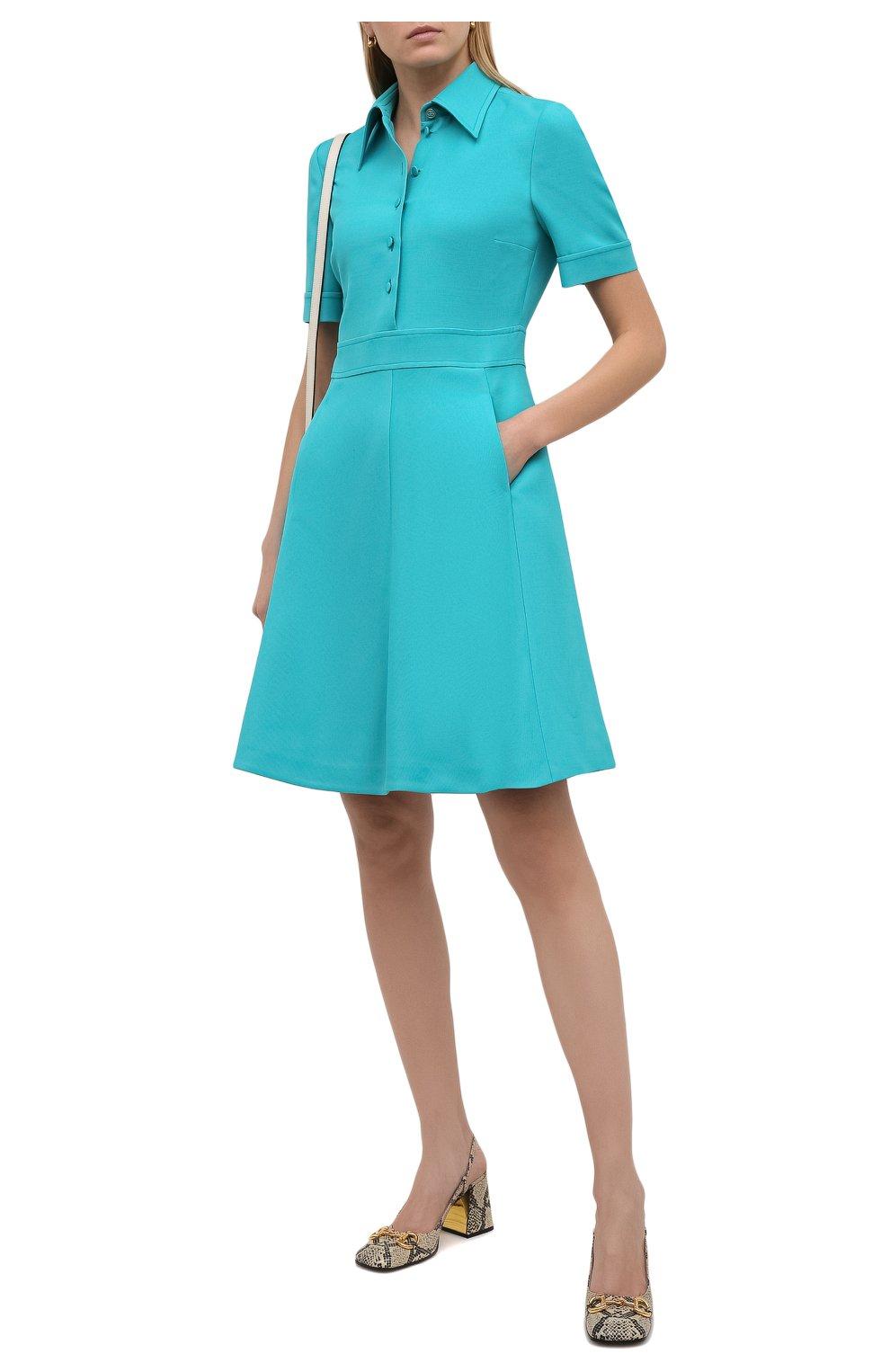 Женское платье из шелка и шерсти GUCCI бирюзового цвета, арт. 649568/ZAD88 | Фото 2 (Материал внешний: Шерсть, Шелк; Рукава: Короткие; Случай: Повседневный; Материал подклада: Синтетический материал; Длина Ж (юбки, платья, шорты): До колена; Женское Кросс-КТ: Платье-одежда; Стили: Кэжуэл)