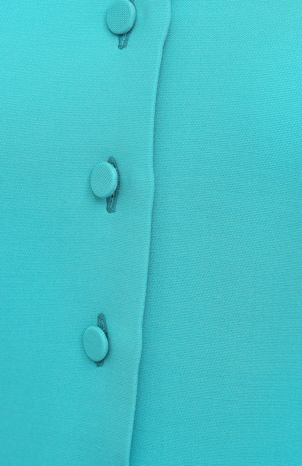 Женское платье из шелка и шерсти GUCCI бирюзового цвета, арт. 649568/ZAD88 | Фото 5 (Материал внешний: Шерсть, Шелк; Рукава: Короткие; Случай: Повседневный; Материал подклада: Синтетический материал; Длина Ж (юбки, платья, шорты): До колена; Женское Кросс-КТ: Платье-одежда; Стили: Кэжуэл)