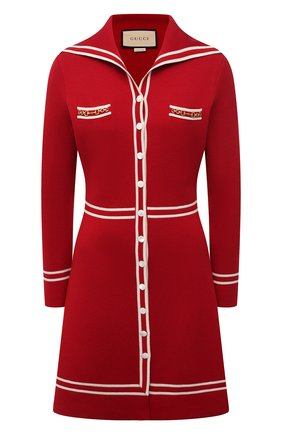 Женское шерстяное платье GUCCI красного цвета, арт. 644564/XKBNZ | Фото 1