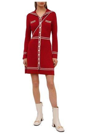 Женское шерстяное платье GUCCI красного цвета, арт. 644564/XKBNZ | Фото 2