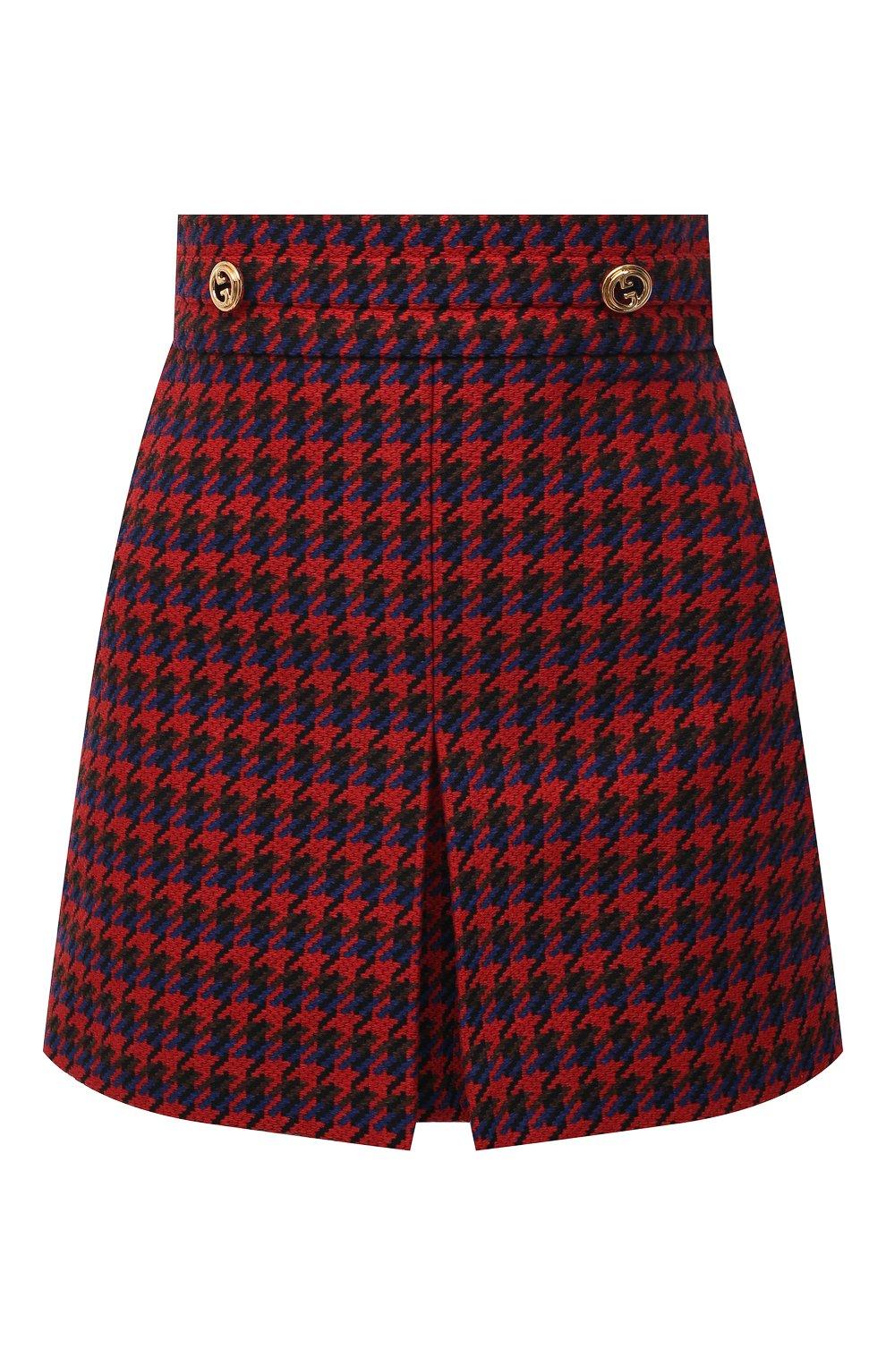 Женская шерстяная юбка GUCCI красного цвета, арт. 643737/ZAGEL | Фото 1