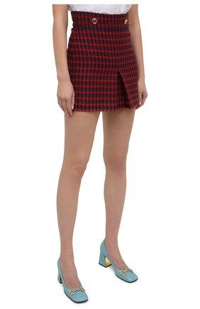 Женская шерстяная юбка GUCCI красного цвета, арт. 643737/ZAGEL | Фото 3