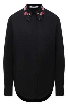 Женская хлопковая рубашка VIVETTA черного цвета, арт. 21E V2M0/G141/0650 | Фото 1