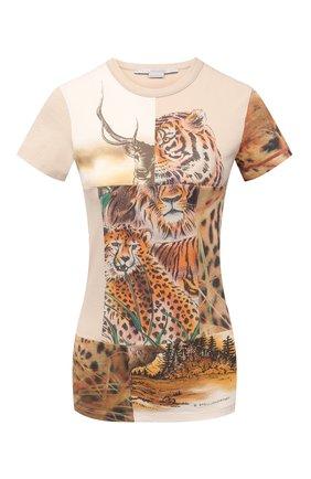 Женская хлопковая футболка STELLA MCCARTNEY бежевого цвета, арт. 602902/S0W54 | Фото 1 (Длина (для топов): Стандартные; Материал внешний: Хлопок; Рукава: Короткие; Женское Кросс-КТ: Футболка-одежда; Принт: С принтом; Стили: Спорт-шик)